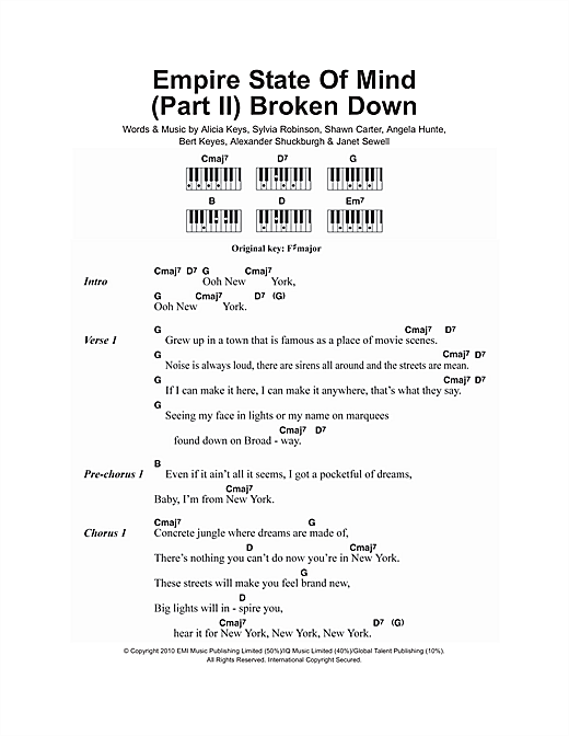 Empire State Of Mind (Part II) Broken Down (Piano Chords/Lyrics)