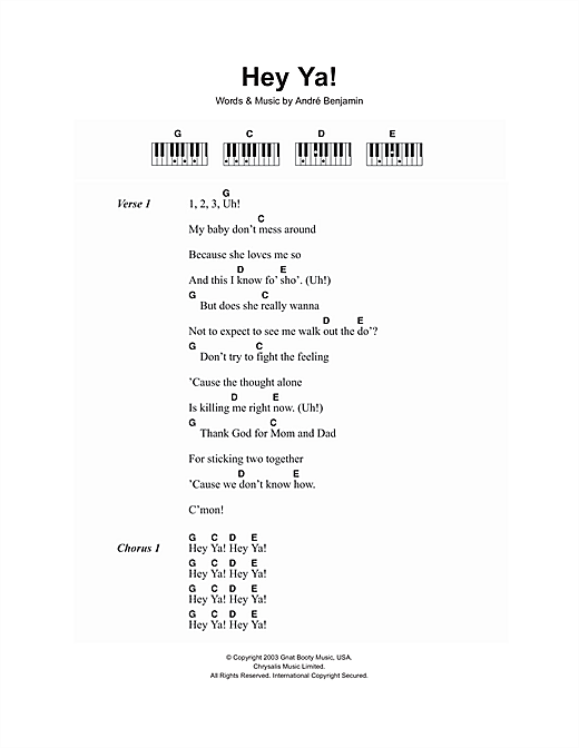 Hey Ya Sheet Music By Outkast Lyrics Piano Chords 107215