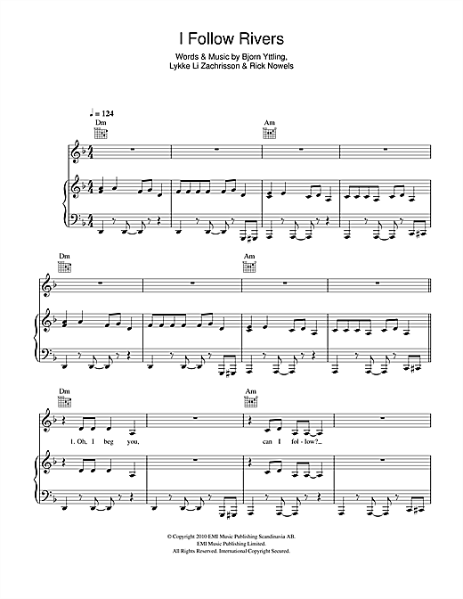 I Follow Rivers Sheet Music