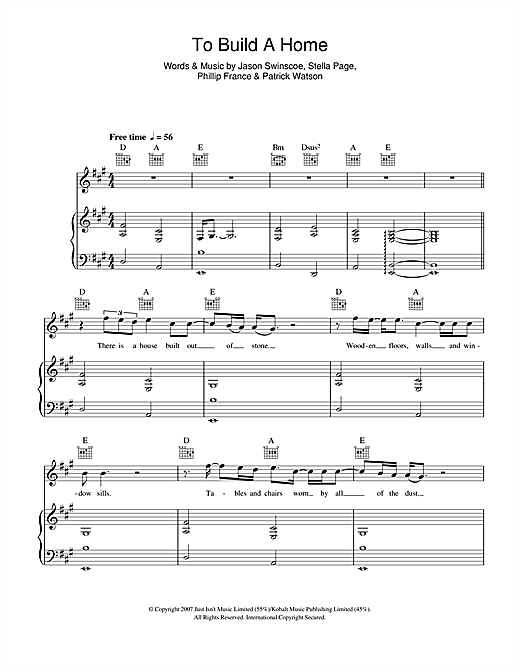 Partition piano To Build A Home de Cinematic Orchestra - Piano Voix Guitare