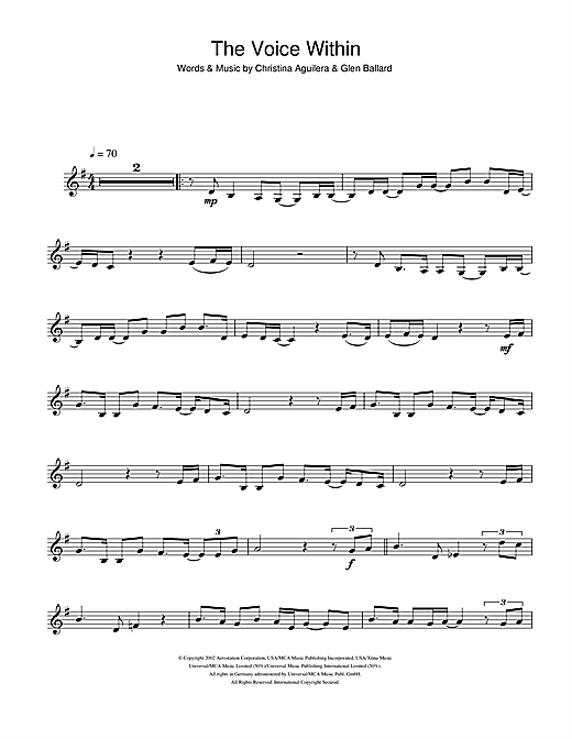 The Voice Within Sheet Music