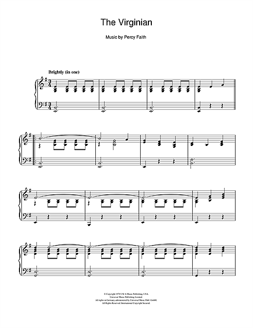 Partition piano The Virginian de Percy Faith - Piano Solo