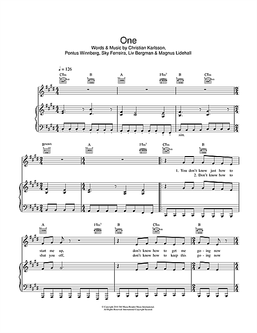 One (Piano, Vocal & Guitar (Right-Hand Melody))