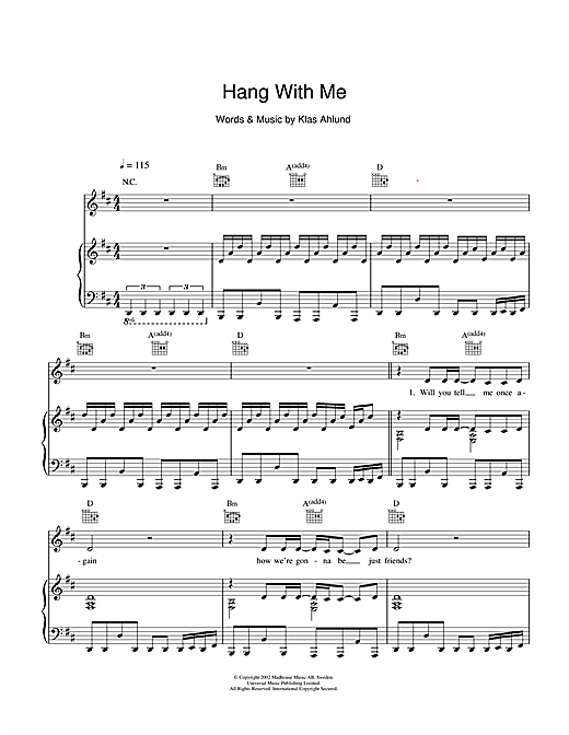 Hang With Me Sheet Music