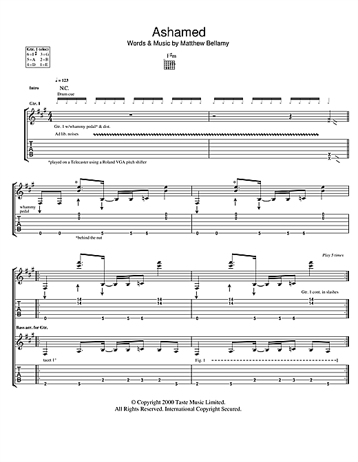 Tablature guitare Ashamed de Muse - Tablature Guitare