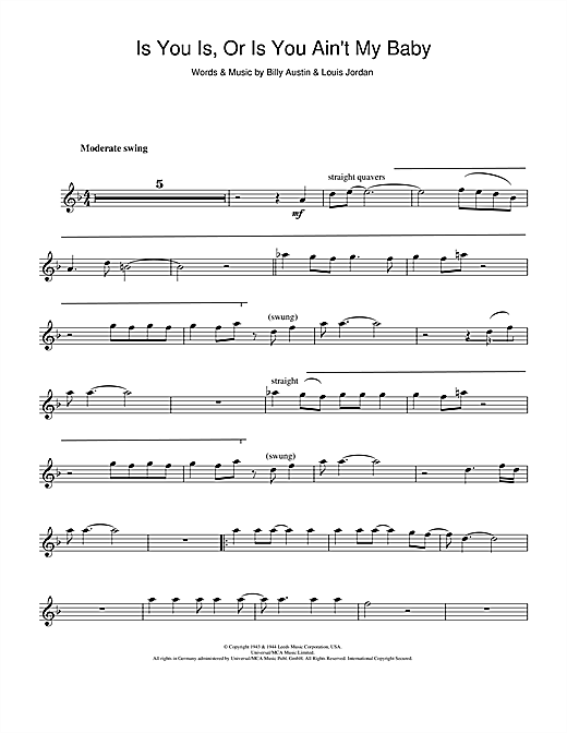 Is You Is Or Is You Ain't My Baby? Sheet Music