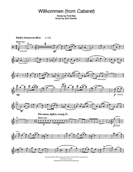 Willkommen (from Cabaret) Sheet Music