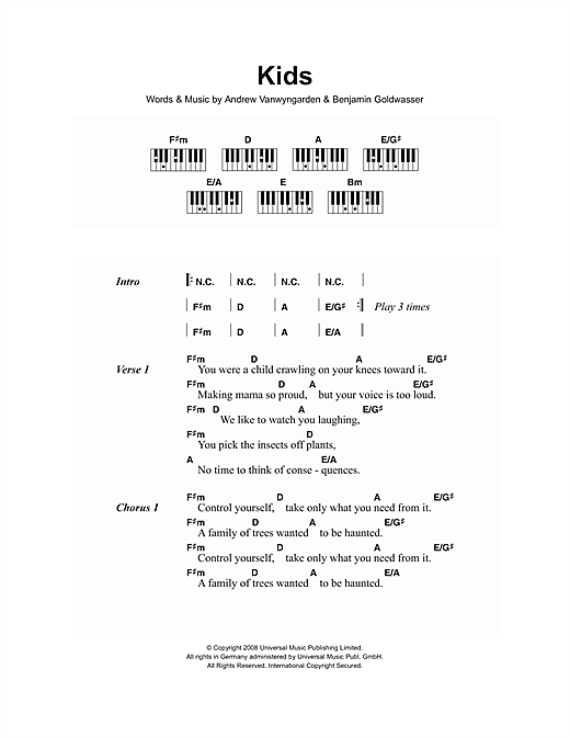 Piano piano chords for kids : Kids sheet music by MGMT (Lyrics & Piano Chords – 107320)