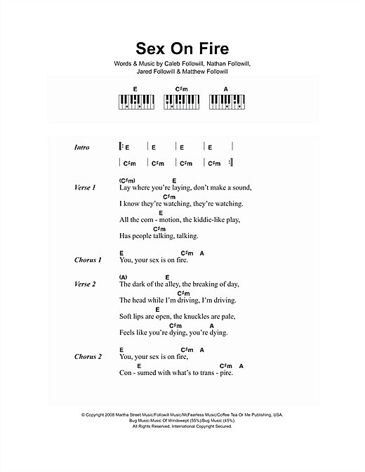 Sex On Fire Sheet Music By Kings Of Leon Lyrics Piano Chords