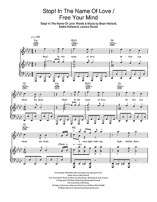 Stop! In The Name Of Love/ Free Your Mind Sheet Music