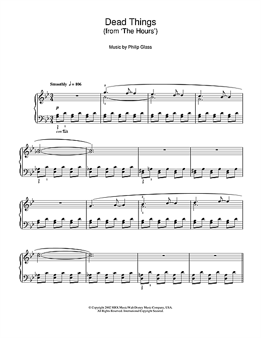 Dead Things From The Hours Sheet Music By Philip Glass