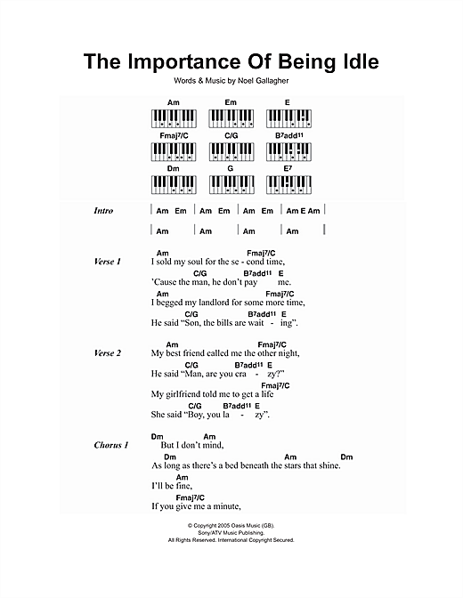 The Importance Of Being Idle Sheet Music By Oasis Lyrics Piano