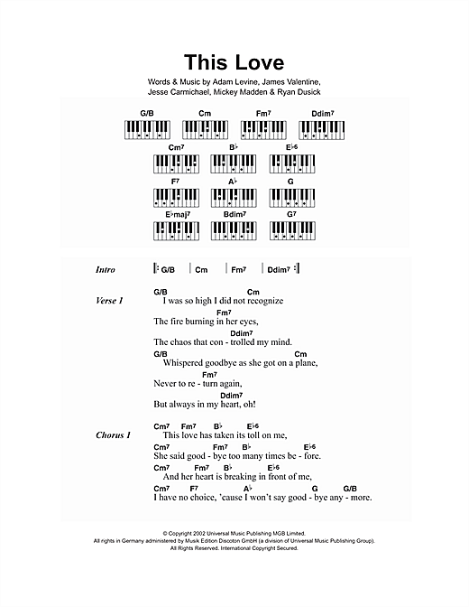 This Love sheet music by Maroon 5 (Lyrics & Piano Chords – 107340)