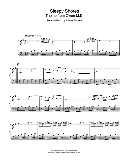 Sleepy Shores (theme from Owen M.D.) Sheet Music