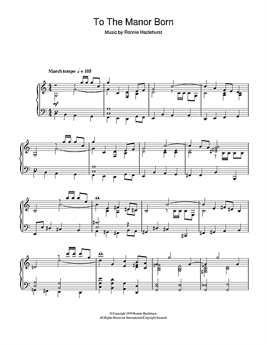 To The Manor Born Sheet Music