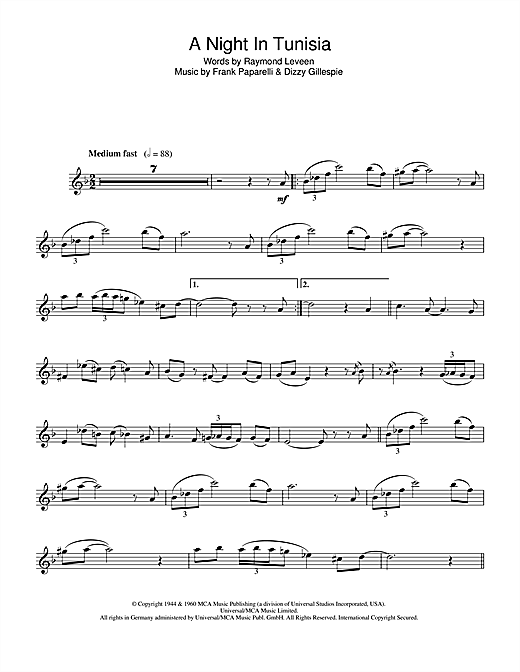 A Night In Tunisia Sheet Music