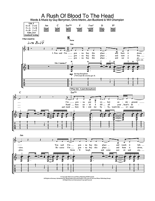 A Rush Of Blood To The Head Sheet Music