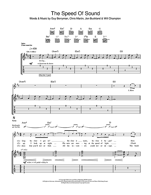 Speed Of Sound (Guitar Tab)
