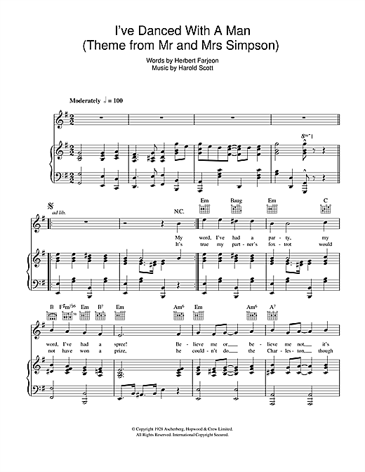 I've Danced With A Man ('Edward And Mrs Simpson' Theme) Sheet Music