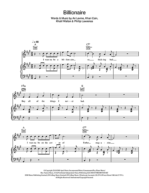 Billionaire Sheet Music
