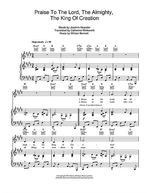 Praise The Lord, The Almighty, The King Of Creation Sheet Music