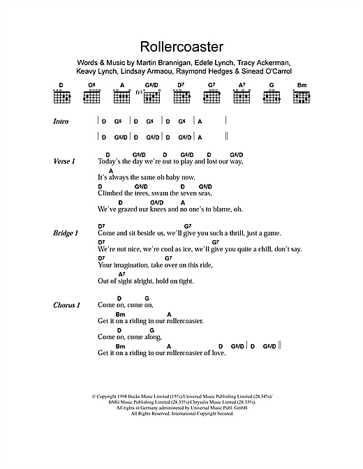 Rollercoaster (Guitar Chords/Lyrics)