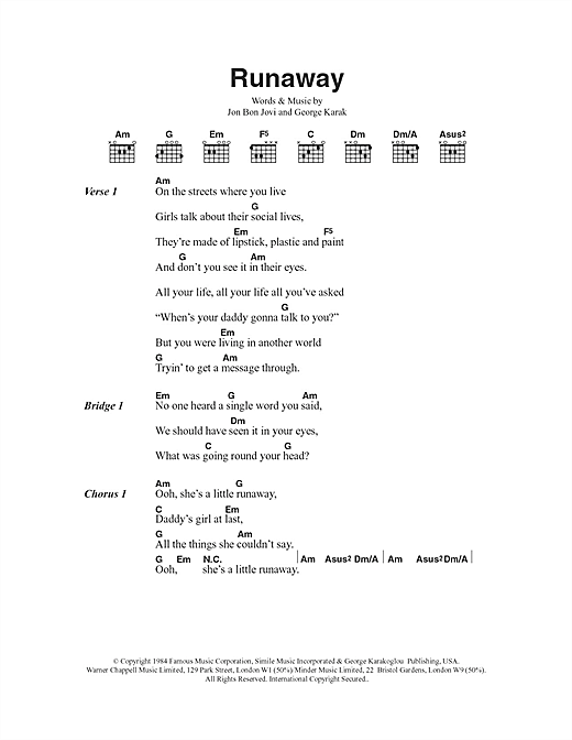 Runaway (Guitar Chords/Lyrics)