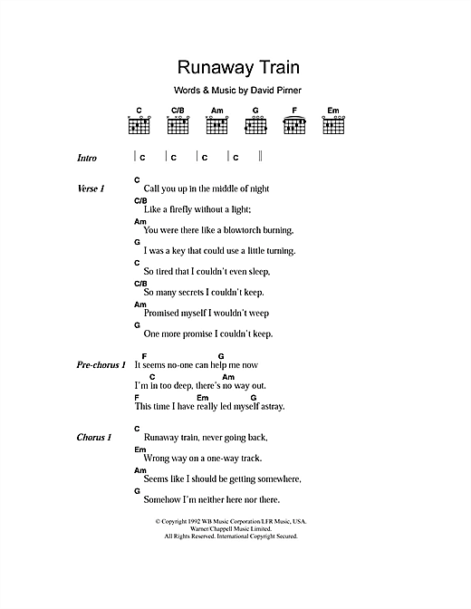 Runaway Train sheet music by Soul Asylum (Lyrics & Chords – 107463)