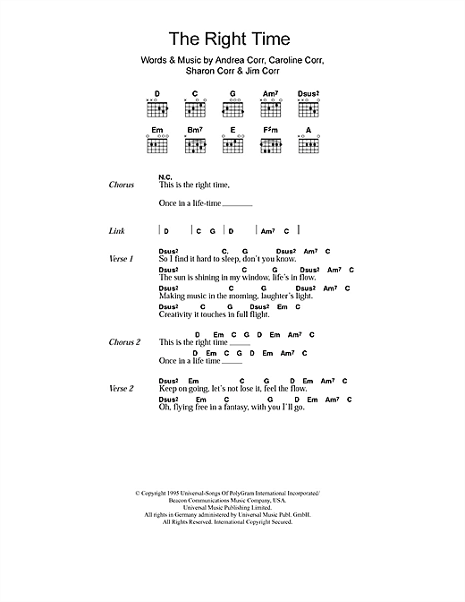 The Right Time (Guitar Chords/Lyrics)