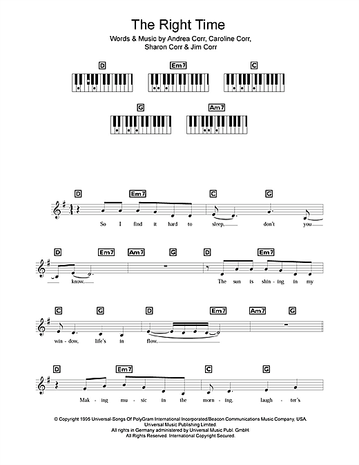 The Right Time Sheet Music