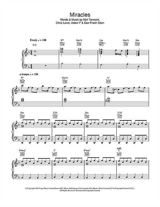 Miracles Sheet Music