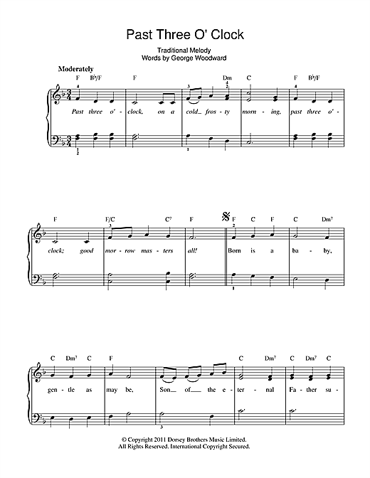 Partition piano Past Three O'Clock de Christmas Carol - Autre