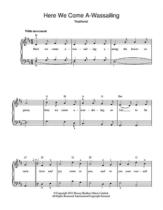 Here We Come A-Wassailing (Beginner Piano)