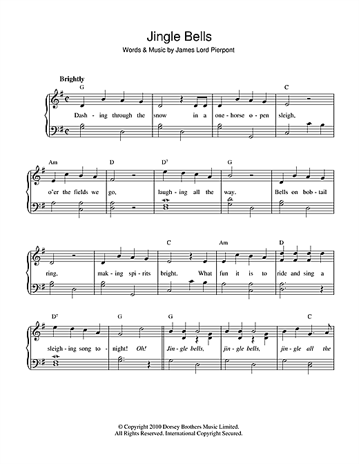 Partition piano Jingle Bells de Christmas Carol - Piano Facile