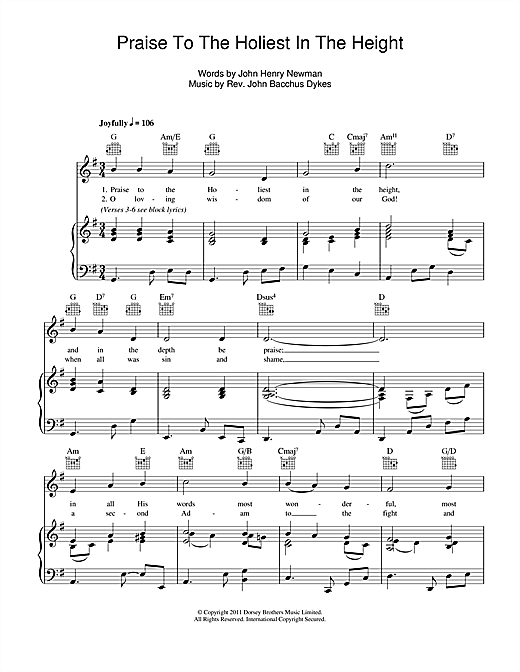 Praise To The Holiest In The Heights Sheet Music