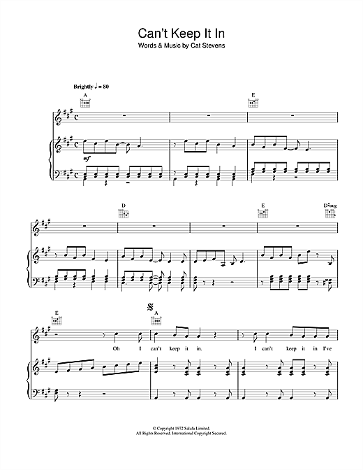 Partition piano Can't Keep It In de Cat Stevens - Piano Voix Guitare