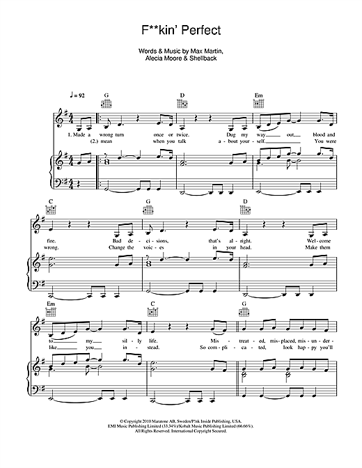 F**kin' Perfect Sheet Music