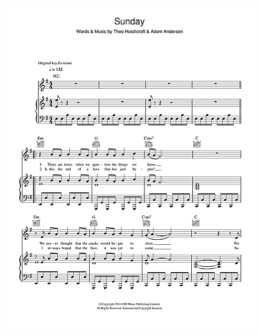 Sunday (Piano, Vocal & Guitar (Right-Hand Melody))