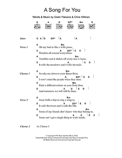 A Song For You (Guitar Chords/Lyrics)