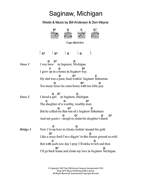 Saginaw, Michigan (Guitar Chords/Lyrics)