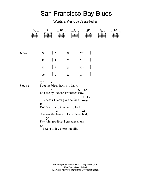 San Francisco Bay Blues Sheet Music