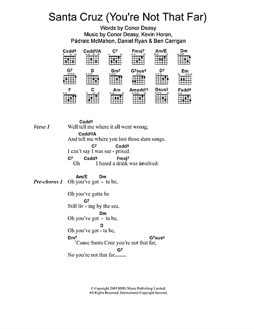 Santa Cruz (you're Not That Far) Sheet Music
