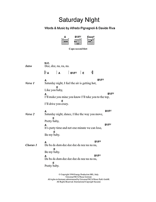 Saturday Night (Guitar Chords/Lyrics)
