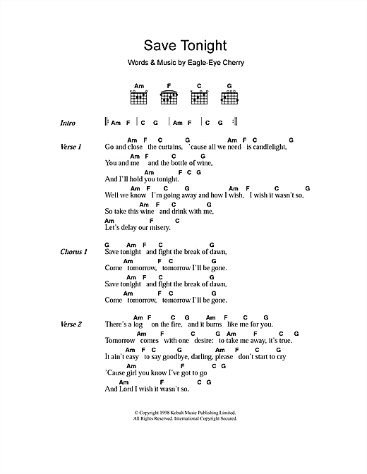 Save Tonight sheet music by Eagle-Eye Cherry (Lyrics & Chords – 107601)