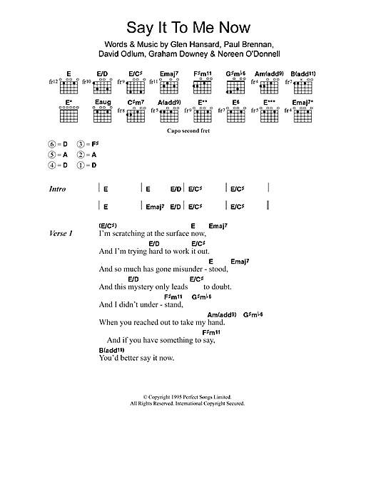 Say It To Me Now (from Once) Sheet Music