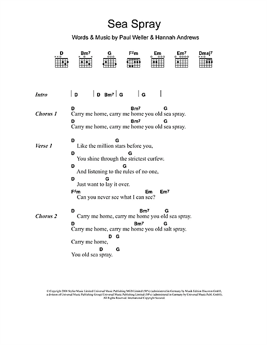 Sea Spray (Guitar Chords/Lyrics)