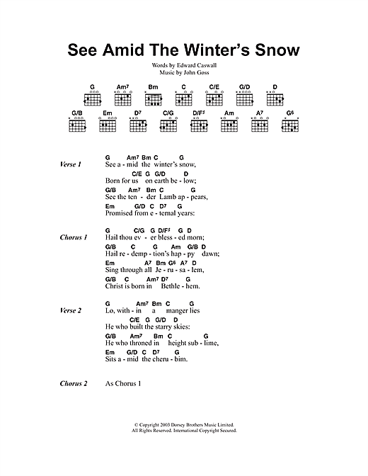See Amid The Winter's Snow Sheet Music