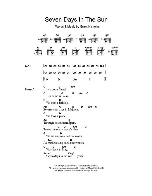 Seven Days In The Sun (Guitar Chords/Lyrics)