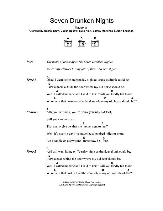 Seven Drunken Nights Sheet Music