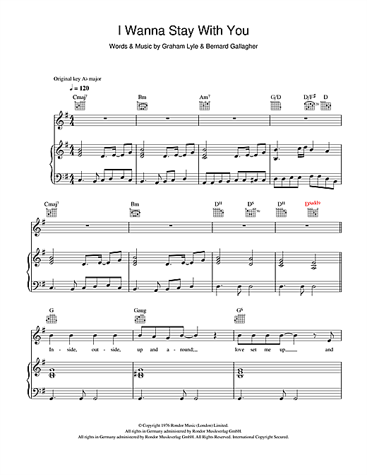 I Wanna Stay With You Sheet Music
